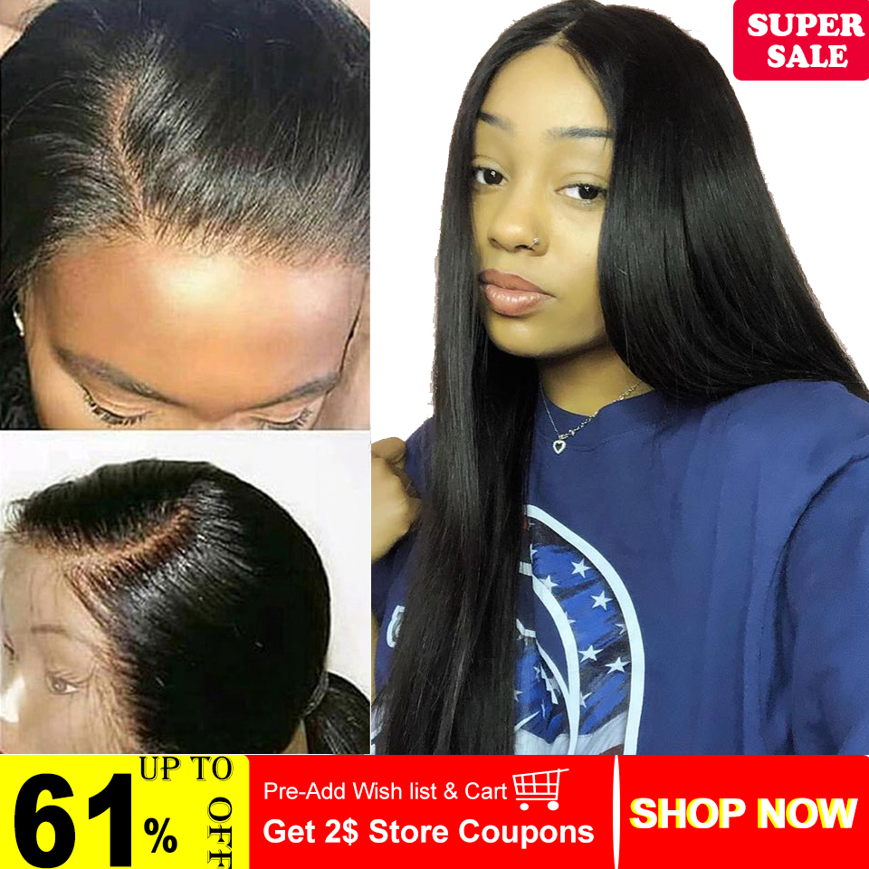 360 Lace Frontal Wig Brazilian Non-Remy Straight Human Hair Wigs Pre-Plucked Hairline With Baby Hair For Black Women  Color 1B
