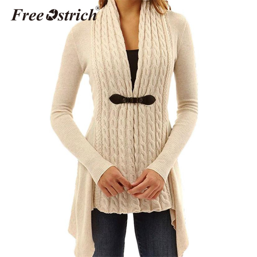 Free Ostrich 2020 Women Sweater Cardigans Asymmetric Bow Outerwear Single Button Full Sleeve Solid Ladies Sweater Coat