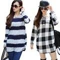 Nuevo 2015 invierno mujeres de la camiseta tops más el tamaño jerseys de manga larga t-shirt o-cuello de la camiseta casual top túnica poleras de mujer