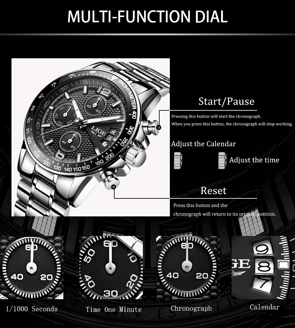 HTB1jK0jSHvpK1RjSZFqq6AXUVXaX LIGE New Mens Watches Top Brand Luxury Stopwatch Sport waterproof Quartz Watch Man Fashion Business Clock relogio masculino+Box