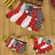 New 3D Cute Fashion Father Christmas Pattern Unisex Knitted Cotton Socks For Womens Winter Warm In Tube Socks Kawaii Funny Socks