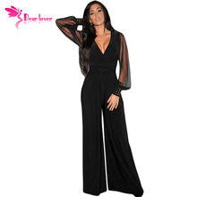 Dear-Lover Long Black Rompers Womens Jumpsuit Winter Autumn Party V-neck Embellished Cuffs Mesh Sleeves Loose Club Pants LC6650(China)