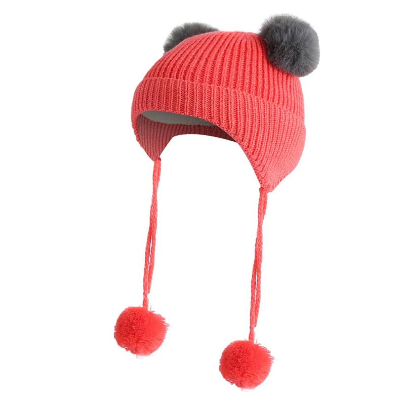 2018 Winter Warm Caps Feece Beanies Cap Casual Solid Color Cute for Kids Boys Girls Pompom Knitted Hats Fashion Fluff Ball Hats
