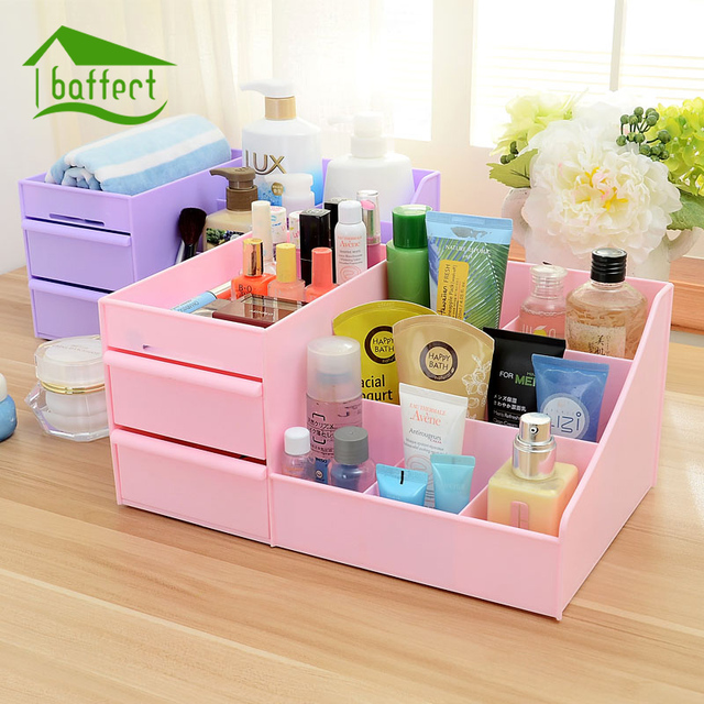 Cosmetic Jewelry Organizer Plastic Storage Box With Drawer Desk