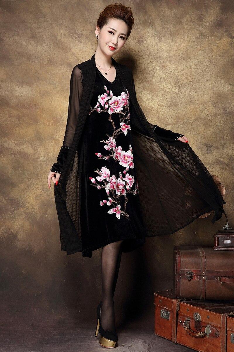 Haute Automne Florale Moyen Nouveau Âge Black dark Femmes Vintage 2018 La Robe end D'or Velours Faux Broderie Grey Xxxxl Taille Deux Plus De 5p67w0qp