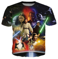 Mulheres/homens Camisas de T de Star Wars Lightsaber Anakin Skywalker 3D tshirt O Pescoço T-Shirt Tops Tees Camisa