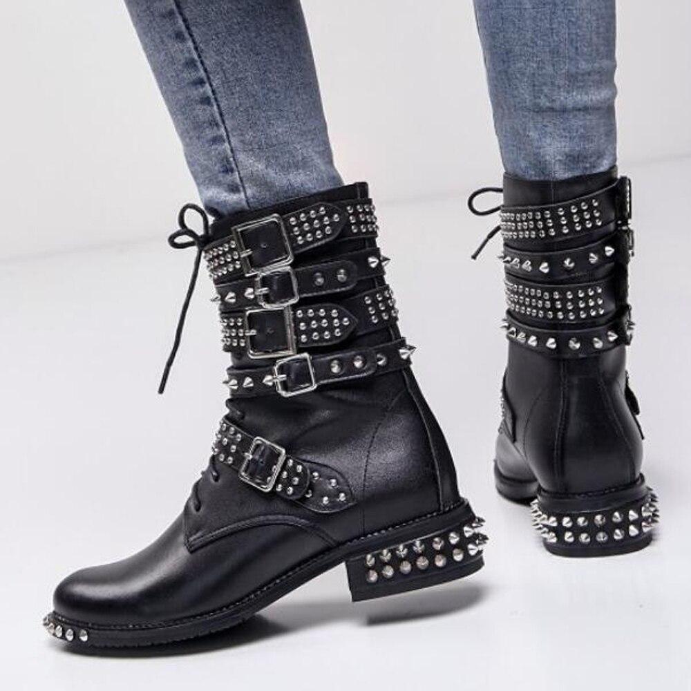 Cuero Punky Genuino Black Invierno Synthetic Zapatos Lining Tobillo Moto Velvet Remaches Botas Bajo Up Tacón Lace Negro Meotian De Hebilla black Cuadrado 40 Del Lini Ew4Fqf