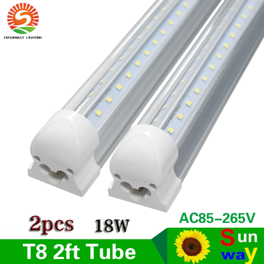 SUNWAY Integrated T8 60cm 2ft LED Tube Lights SMD 2835 2 ft 600mm V Shape Led Tube Light AC85-265V Include Free Parts 2pcs xixu 2 60cm