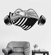 Gym American Eagle American Flag Vinyl Wall Sticker Bodybuilding Fitness University Dormitory Home Decor Art Decal CS28 цены