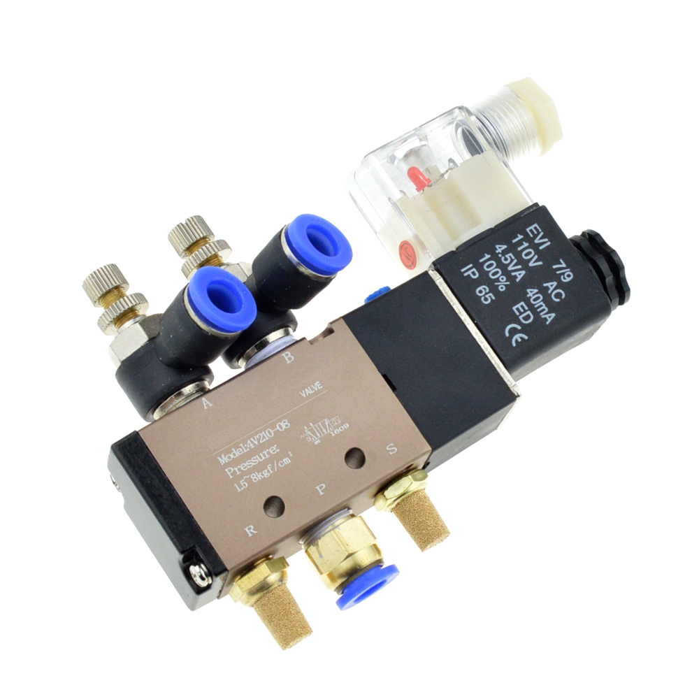 Pneumatic Flow Adjust Solenoid Valve 5Way 2 Position Air Gas Magnetic Valve 12V 24V 110V 220 Coil Volt 8mm Hose Quick Connection 5 way pilot solenoid valve sy3220 4g 02