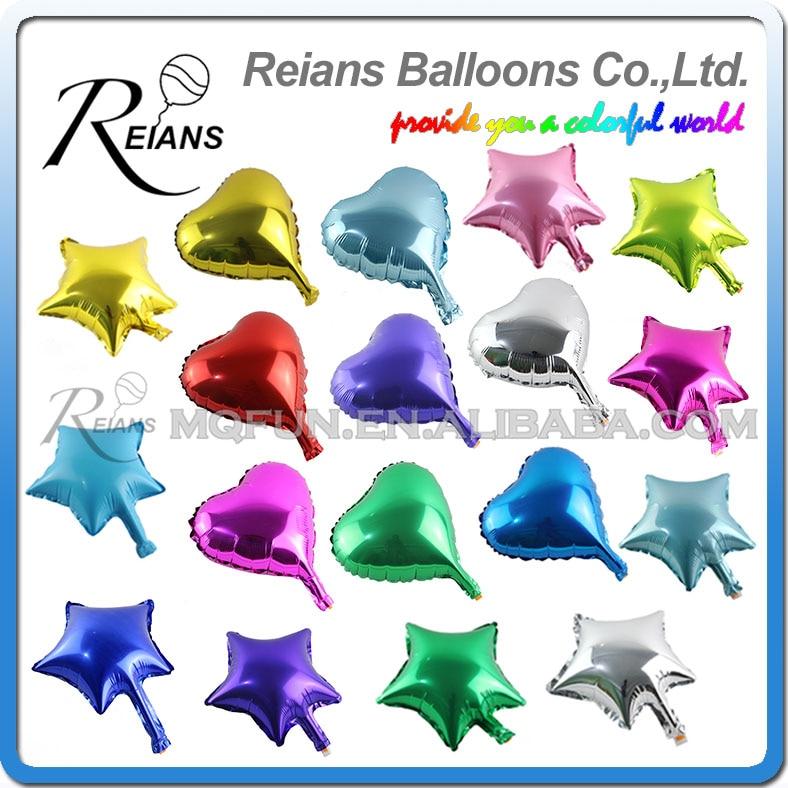 Wholesales REIANS 500pcs lot 10 inch heart star shaped kids birthday wedding decorations aluminum foil balloons