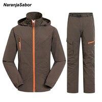 NaranjaSabor 2018 מהירים יבש גברים זכר עמיד למים סט הבגדים של מכנסיים מכנסיים מעילים מזדמנים גברים מעיל חליפת בגדי גברים 4XL
