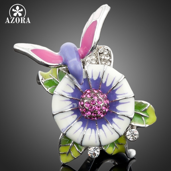 Prix pour AZORA Blanc Or Couleur Stellux Cristal Autrichien Oiseau Dans la Conception de Fleurs Anneau TR0016