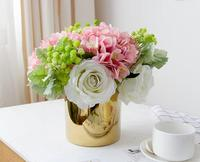 Artificial Flowers Bouquet Without Vase Silk Hydrangea Rose Babysbreath Bouquet Home Wedding Table Centrepiece