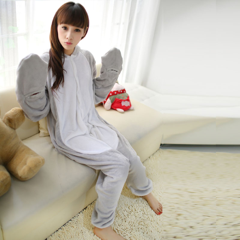 Fancy Grey Sea Lion Kigurumi Flannel Animal Onesies Soft Women Pajamas Party Bodysuit Cosplay Unisex Sleepwear Halloween Pyjamas (4)