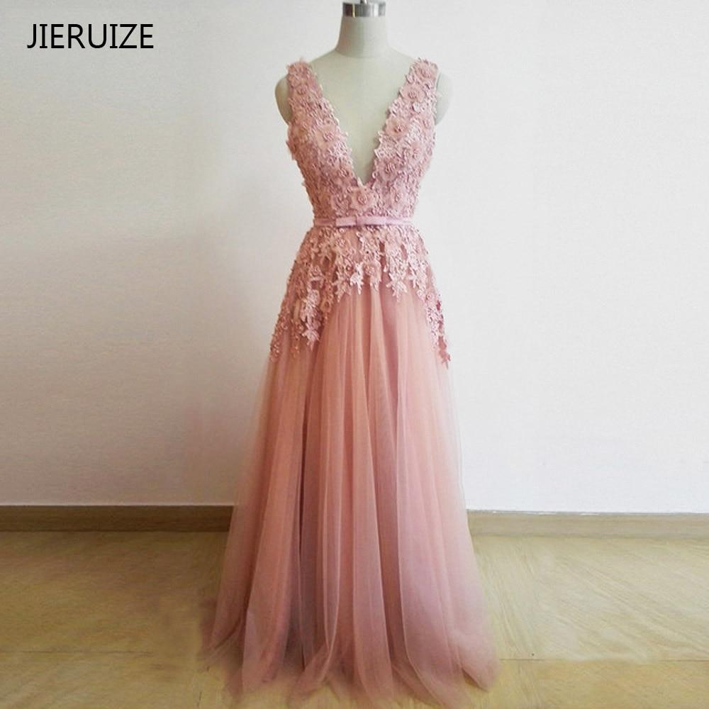 JIERUIZE Dusty Pink Vintage Lace Appliques Long Evening Dresses Pärlor Sash Deep V-Neck Backless Prom Klänningar Aftonklänningar