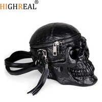 HIGHREAL Originalität Frauen Tasche Lustige Skeleton Kopf Schwarz handbad Männer Einzigen Paket Mode Designer Satchel Paket Schädel Taschen