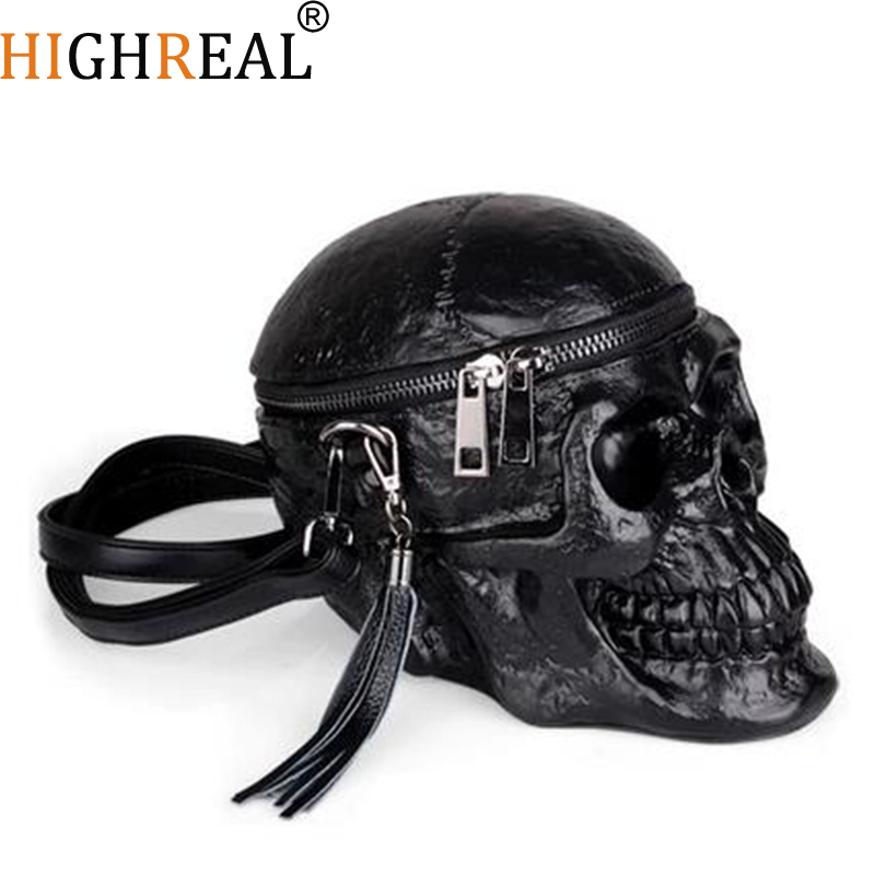 HIGHREAL Originality Women Bag Funny Skeleton Head Black handbad Men Single Package Fashion Designer Satchel Package Skull Bags| | - AliExpress