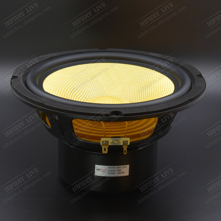 HIFIDIY LIVE HIFI 8 inch 8 Midbass Woofer speaker Unit 4 8 OHM 160W yellow Glass