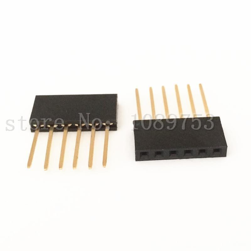 100pcs Black 2.54 mm 6P Stackable Long Legs Female Header For Arduino Shield100pcs Black 2.54 mm 6P Stackable Long Legs Female Header For Arduino Shield