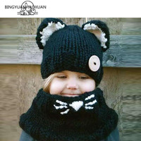 Cute Baby Hat Knitted Fashion New Babies Bold Lisa Scarf Hats Casual Animal Joining Cap For