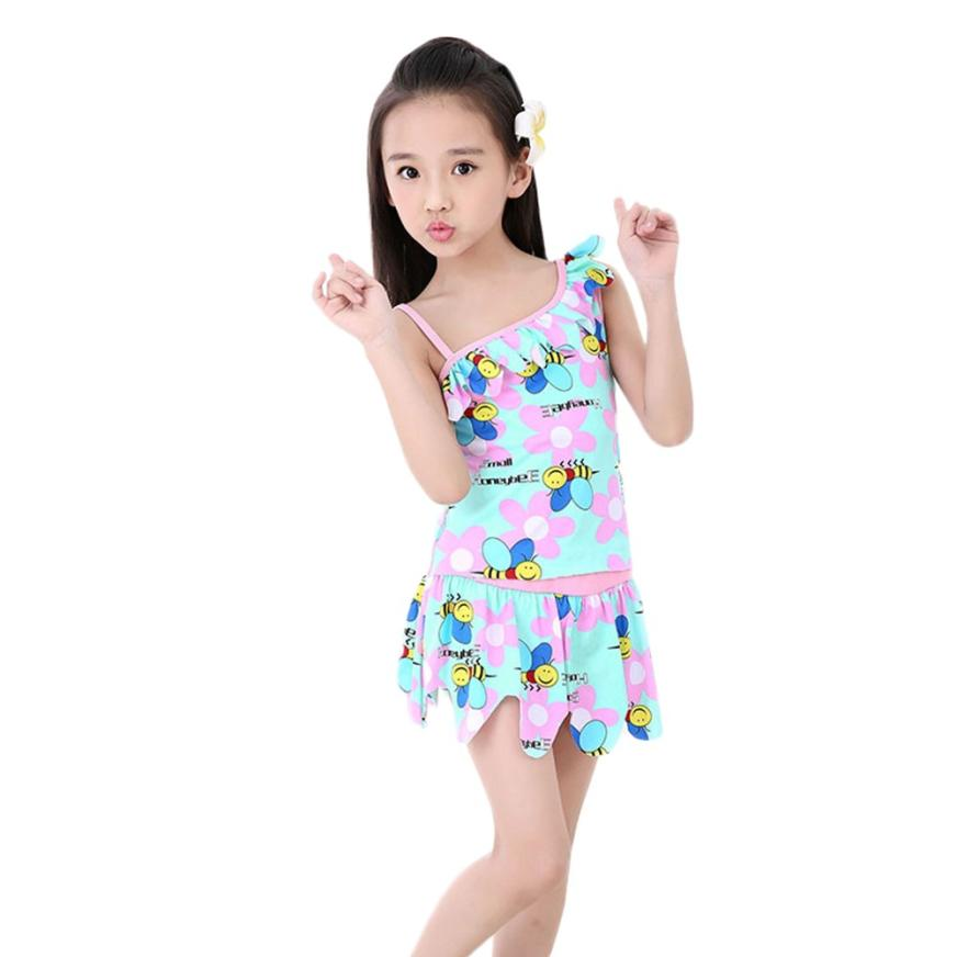 Baby Girls Swimwear 2Color CartoonAnimal Bee Floral Ruffles Bikini OnePieces Girl Swimsuit for Summer Beach Cusual Party 18May14