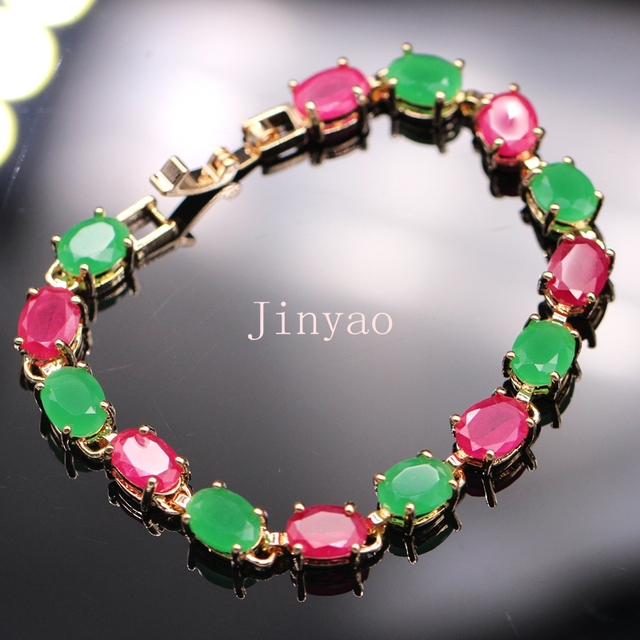 Simple Style WHite /Champagne Gold Plated Bracelets lab-created Emerald&Ruby Chain Bracelet Bangle For Women D03-1