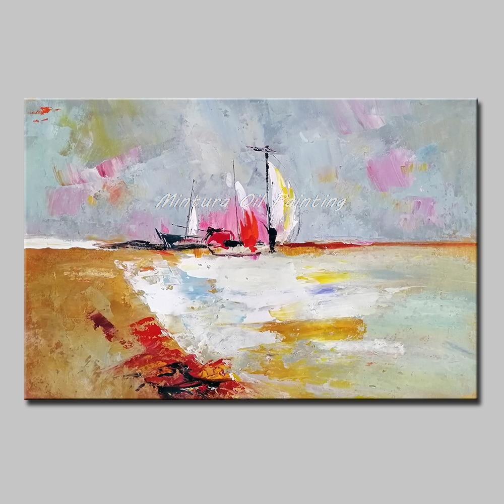 Mintura 100% fait à la main moderne abstraite mur Art toile un voilier amarré au bord de la mer peintures à l'huile pour salon pas encadré
