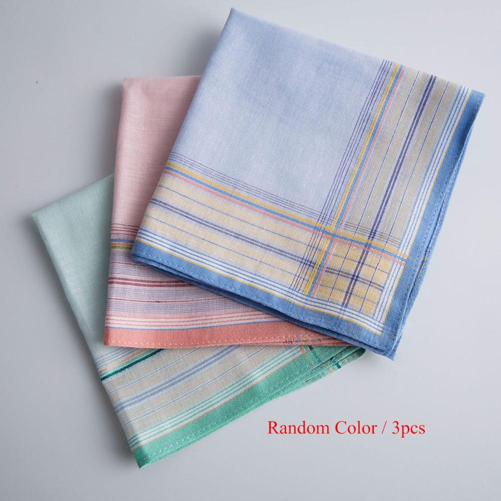 3PC Men Handkerchiefs Casual Pocket Square Sweat Towel Cotton Striped Hanky Handkerchiefs Random Color Casual Cotton Scarf
