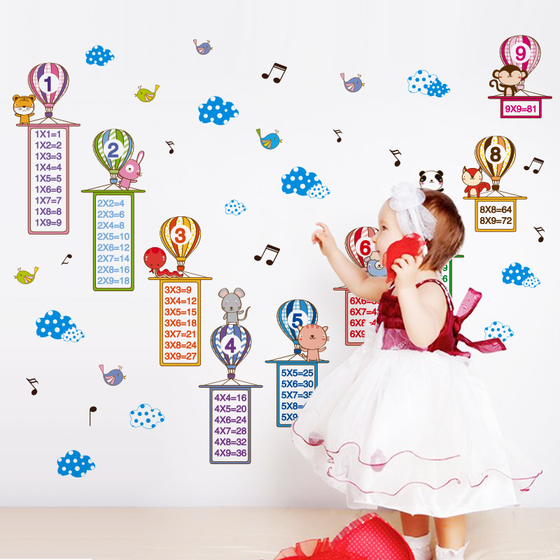 [SHIJUEHEZI] Colorful Balloonss Wall Stickers DIY Cartoon Multiplication Table Wall Art  ...