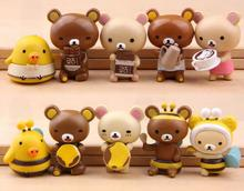 5ps/lot  Cute Japanese Anime Rilakkuma Bear Cosplay Chi's Adorable Cat Mini Action Figure Toy Collection Model for Kid