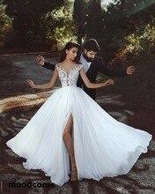 2018 Gorgeous Summer Garden Lace Chiffon Wedding Dresses High Thigh Split A Line Cap Sleeves Sheer