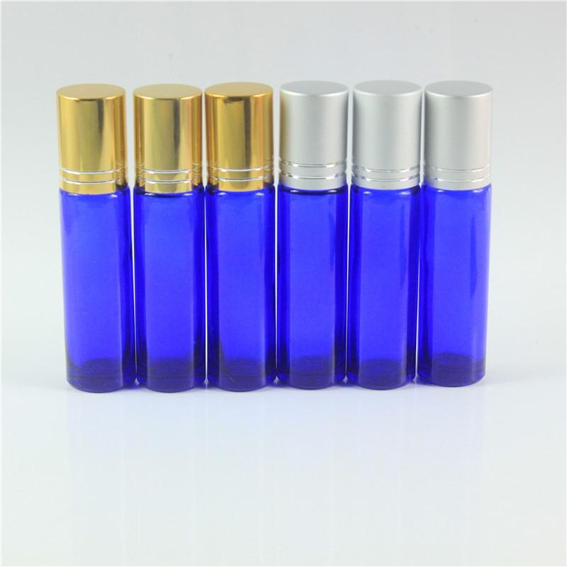 DHL Free Shipping 122pcs lot 10ml Protable Blue Glass Perfume Bottles Glass Rollon Fragrance Empty Essential