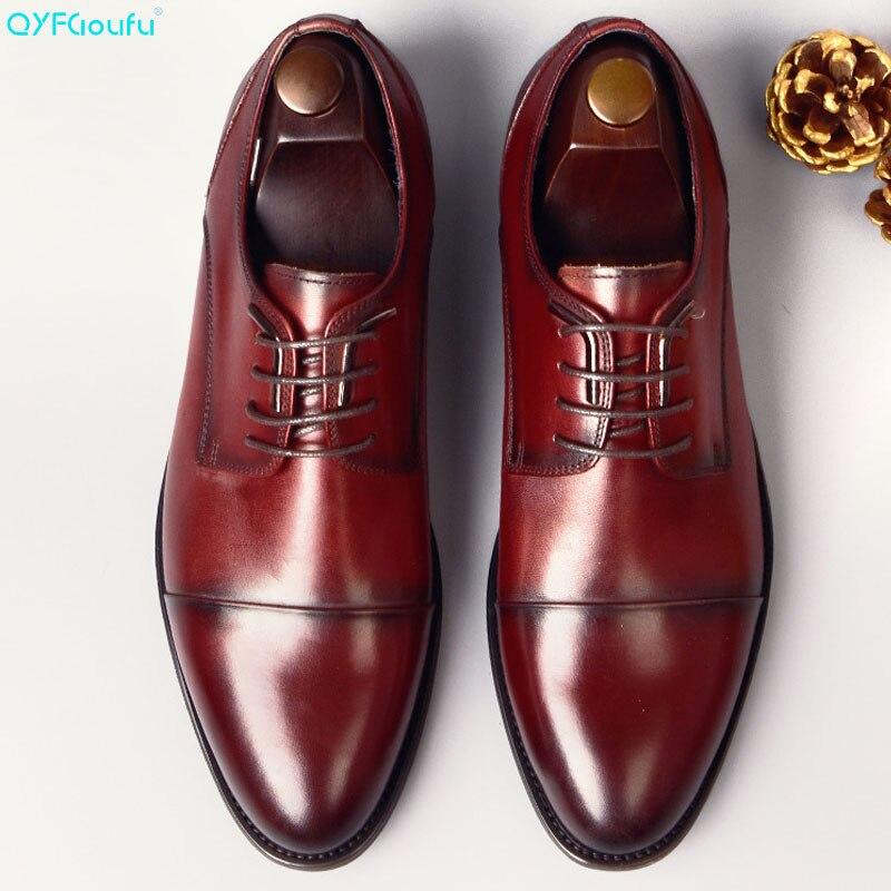 QYFCIOUFU 2019 Handmade Design Fashion Luxury Wedding Oxford Shoe Calfskin Genuine Leather formal shoes Business Men Dress Shoes
