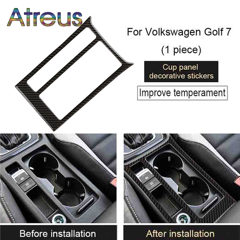 Atreus Carbon Fiber Water Cup Panel Trim Stickers For Volkswagen Golf GTI VW Golf 7 MK7 GTE 2013 2014 2015 2016 2017 Accessories real carbon fiber mirror cover case for vw golf 7 mk7 gti tsi vii jdm 2013 2015 [1031001]