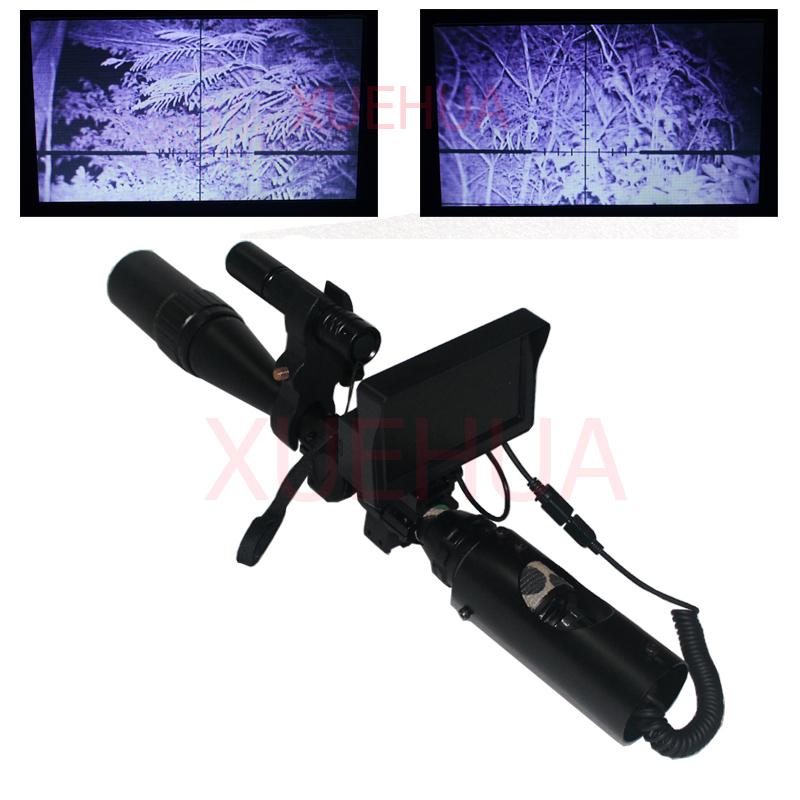 Hot New Outdoor Hunting Optics Sight Riflescope illuminated Tactical rifle scope night vision with LCD and IR Flashlight hot sale 2 5 10x40 riflescope illuminated tactical riflescope with red laser scope hunting scope