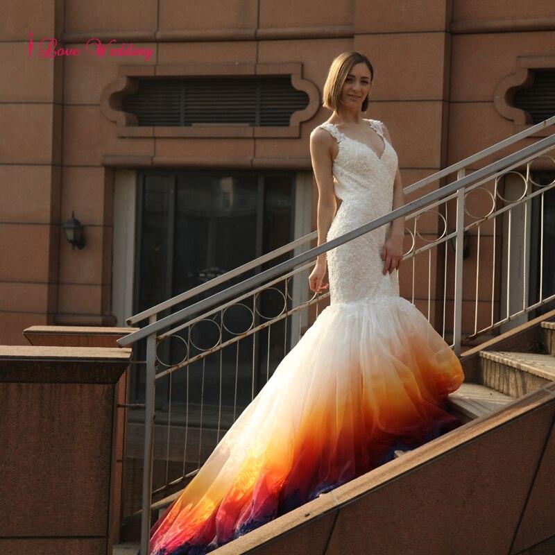 2017 Νέο πολύχρωμο Γοργόνα Γαμήλια - Γαμήλια φορέματα - Φωτογραφία 2