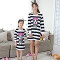 Primavera Otoño Ropa Pijamas Niñas de Algodón Vestido Azul de Rayas a juego A Juego de la Familia de madre e hija de ropa chándal