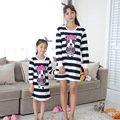 Primavera Outono Família Combinando Roupas Pijamas de Algodão Meninas Vestido Listrado Azul combinando mãe filha roupas agasalho