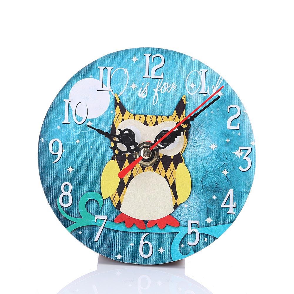 Fashion Round Wall Clock Imitation Wood Owl Printed Retro Clocks Living Room Bedroom Office Home Decorate Watch Hogard