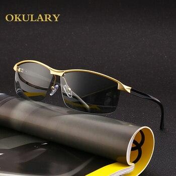 스포츠 남자 편광 된 선글라스 3 색 블랙/골드/브라운 금속 프레임 사각형 uv400 안경 남자 상자와 함께