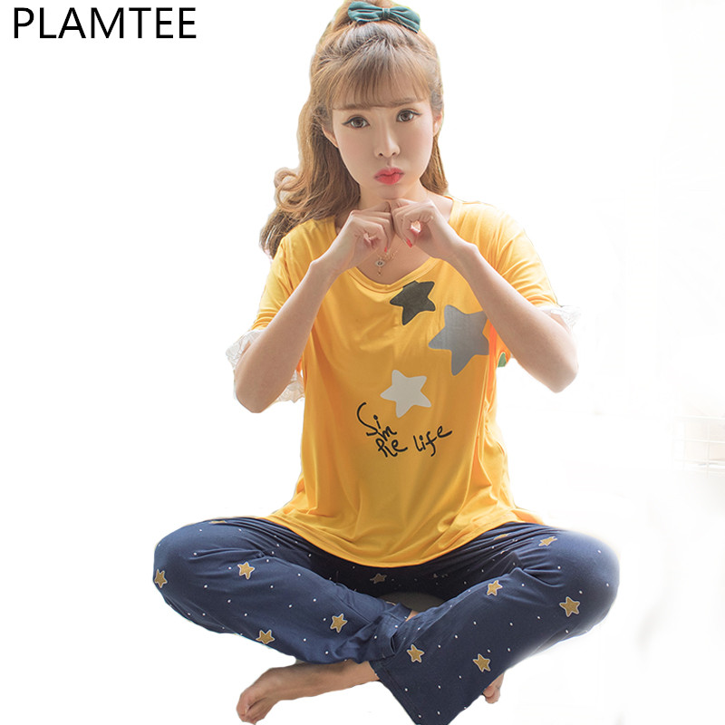 PLAMTEE Summer Pregnant Women Lace Letter Printing Pajamas Sets Fashion Short Sleeves Nursing Suits For Pregnant And Lactating