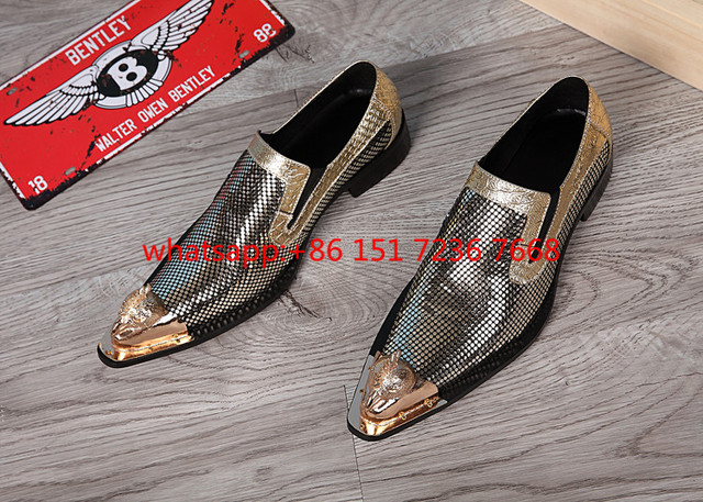 Genuine Leather Metal Pointy Toe Polka Dot Wedding Shoes For Men ...