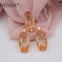 PATAYA New 585 Rose Gold Fine Jewelry Sets Oval Artificial Cubic Zircon Big Dangle Earrings Ring