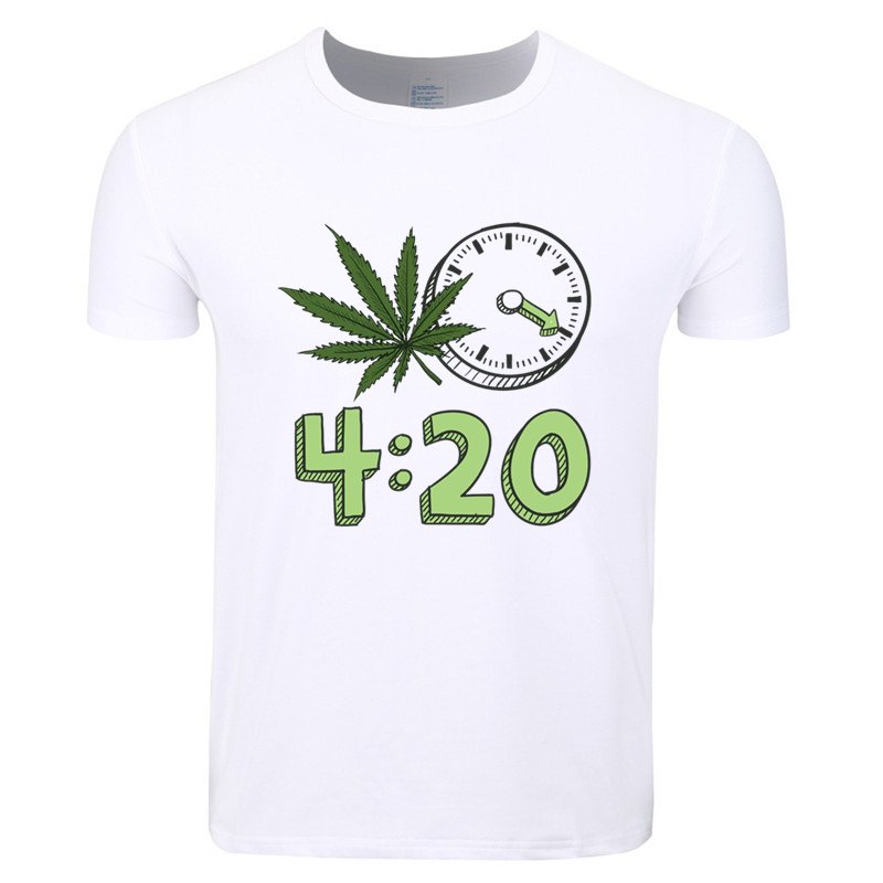 Men Print 420 its Time Fashion T-shirt Short Sleeve O-Neck Summer Unisex Casual Fashion White T shirt HCP548