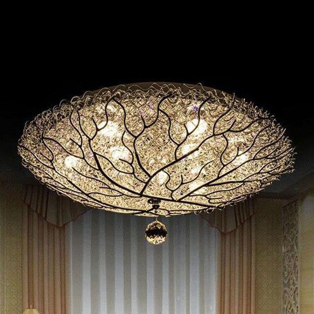 restaurant studie slaapkamer lamp romantische nest voor kinderen ronde crystal ornamenten moderne led plafond verlichting minimalistische