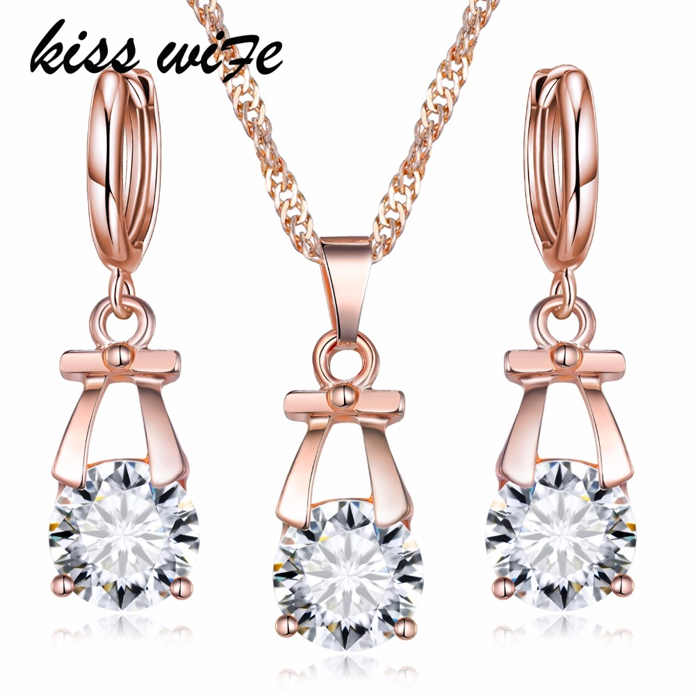 KISS WIFE New Style Hot Wedding Jewelry Sets Gold Color Drop Earrings Necklace Set For Women Party Set CZ Crystal Jewelr
