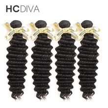 HCDIVA Brazilian Deep Wave 100 Human Hair Weave Bundles Natural Color Non Remy Hair Extensions 8