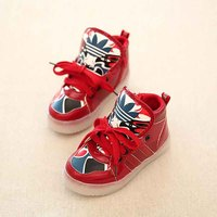 New Fashion Autumn And Winter LED Luminous Shoes For Children Unisex High Top Casual Skate Shoes