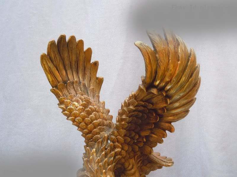 Free Shipping  13 China brass copper carved spread the wings eagle Sculpture statue 8 china silver fine workmanship carved lucky money happy buddha on fish statue d0426